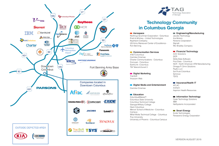 Map Of Colleges In Georgia.Columbus Technology Map Where Georgia Leads